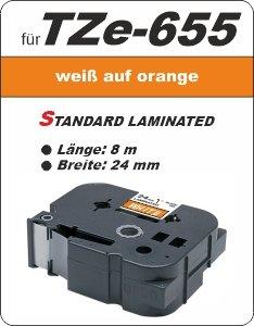 weiß auf orange - 100% TZe-6551 (24 mm) komp.
