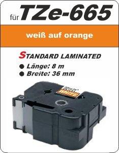 weiß auf orange - 100% TZe-665 (36 mm) komp.