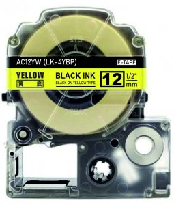 schwarz auf gelb - 100% LK-4YBP (12 mm) komp.