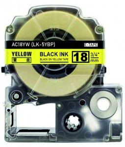 schwarz auf gelb - 100% LK-5YBP (18 mm) komp.
