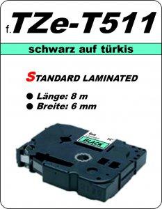 schwarz auf türkis - 100% TZe-T511 (6 mm) komp.