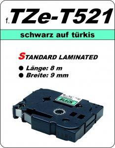 schwarz auf türkis - 100% TZe-T521 (9 mm) komp.