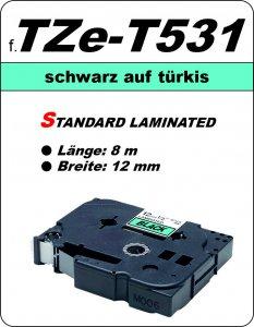 schwarz auf türkis - 100% TZe-T531 (12 mm) komp.
