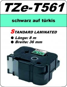 schwarz auf türkis - 100% TZe-T561 (36 mm) komp.