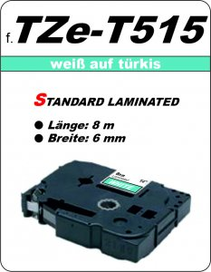 weiß auf türkis - 100% TZe-T515 (6 mm) komp.