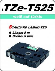 weiß auf türkis - 100% TZe-T525 (9 mm) komp.