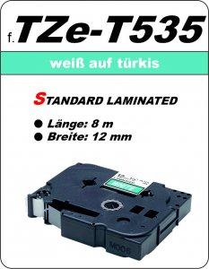 weiß auf türkis - 100% TZe-T535 (12 mm) komp.