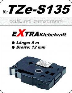 weiß auf transparent - 100% TZe-S135 (12 mm) komp.