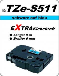 schwarz auf blau - 100% TZe-S511 (6 mm) komp.