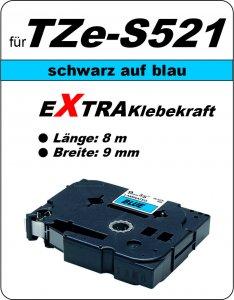 schwarz auf blau - 100% TZe-S521 (9 mm) komp.