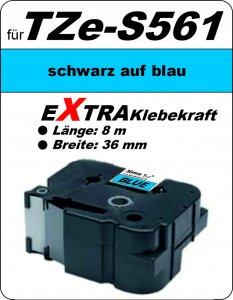 schwarz auf blau - 100% TZe-S561 (36 mm) komp.