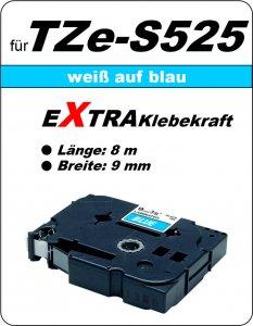 weiß auf blau - 100% TZe-S525 (9 mm) komp.