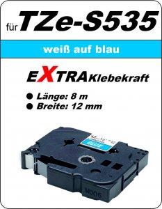 weiß auf blau - 100% TZe-S535 (12 mm) komp.