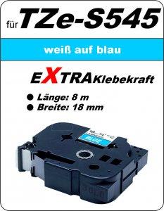 weiß auf blau - 100% TZe-S545 (18 mm) komp.