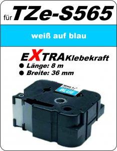 weiß auf blau - 100% TZe-S565 (36 mm) komp.