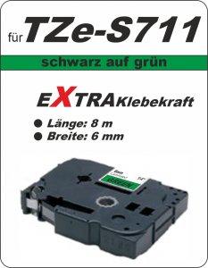 schwarz auf grün - 100% TZe-S711 (6 mm) komp.