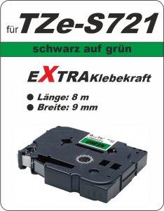 schwarz auf grün - 100% TZe-S721 (9 mm) komp.