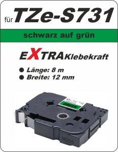 schwarz auf grün - 100% TZe-S731 (12 mm) komp.