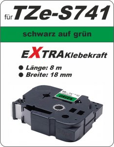 schwarz auf grün - 100% TZe-S741 (18 mm) komp.