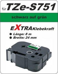 schwarz auf grün - 100% TZe-S751 (24 mm) komp.
