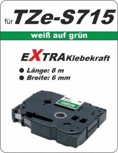 weiß auf grün - 100% TZe-S715 (6 mm) komp.