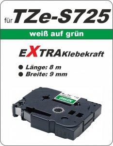 weiß auf grün - 100% TZe-S725 (9 mm) komp.