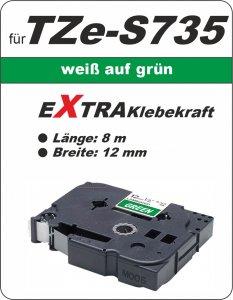 weiß auf grün - 100% TZe-S735 (12 mm) komp.
