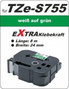weiß auf grün - 100% TZe-S755 (24 mm) komp.