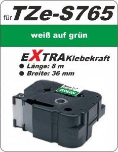 weiß auf grün - 100% TZe-S765 (36 mm) komp.