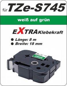 weiß auf grün - 100% TZe-S745 (18 mm) komp.