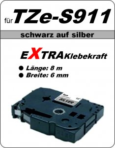 schwarz auf silber - 100% TZe-S911 (6 mm) komp.