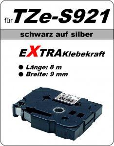 schwarz auf silber - 100% TZe-S921 (9 mm) komp.
