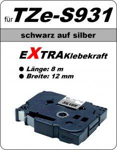 schwarz auf silber - 100% TZe-S931 (12 mm) komp.