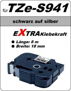 schwarz auf silber - 100% TZe-S941 (18 mm) komp.