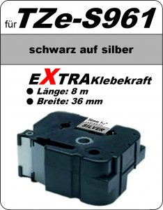 schwarz auf silber - 100% TZe-S961 (36 mm) komp.