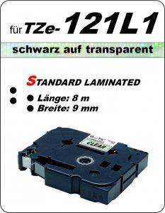 schwarz auf transparent - 100% TZe-121L1 (9 mm) komp.