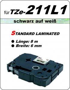 schwarz auf weiß - 100% TZe-211L1 (6 mm) komp.