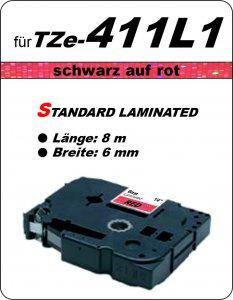 schwarz auf rot - 100% TZe-411L1 (6 mm) komp.