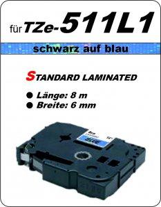 schwarz auf blau - 100% TZe-511L1 (6 mm) komp.
