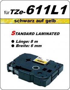 schwarz auf gelb - 100% TZe-611L1 (6 mm) komp.