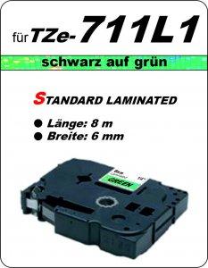 schwarz auf grün - 100% TZe-711L1 (6 mm) komp.