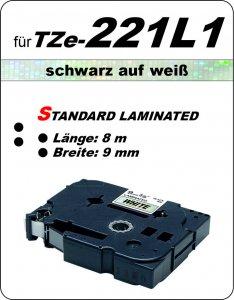 schwarz auf weiß - 100% TZe-221L1 (9 mm) komp.