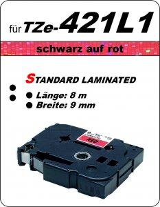 schwarz auf rot - 100% TZe-421L1 (9 mm) komp.