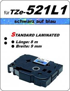 schwarz auf blau - 100% TZe-521L1 (9 mm) komp.