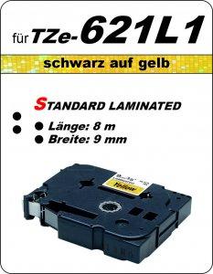 schwarz auf gelb - 100% TZe-621L1 (9 mm) komp.