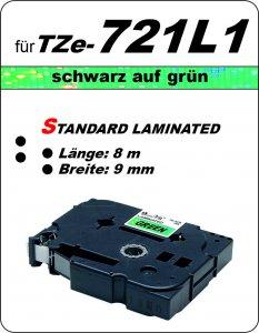 schwarz auf grün - 100% TZe-721L1 (9 mm) komp.