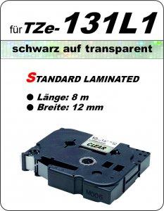 schwarz auf transparent - 100% TZe-131L1 (12 mm) komp.