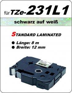 schwarz auf weiß - 100% TZe-231L1 (12 mm) komp.