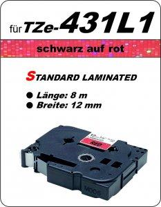 schwarz auf rot - 100% TZe-431L1 (12 mm) komp.