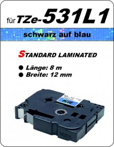 schwarz auf blau - 100% TZe-531L1 (12 mm) komp.